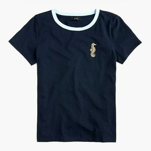 New JCREW Size XS Seahorse Embellished Tee In Navy